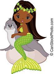 Vector Cute Little Mermaid Swimming with Fur Seal. Vector African American Mermaid
