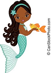 Vector Cute Little Mermaid with Fish. Vector African American Mermaid