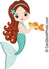 Vector cute little mermaid with fish. Mermaid vector illustration