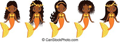 Vector Cute Little Mermaids Swimming. Vector African American Mermaids