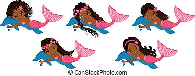 Vector Cute Little Mermaids Swimming with Dolphins. Vector African American Mermaids