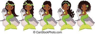 Vector Cute Little Mermaids with Fur Seals. Vector African American Mermaids