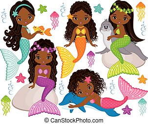 Vector Cute Little Mermaids with Marine Animals. Vector...