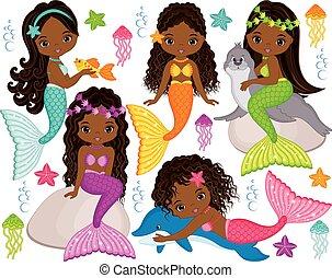 Vector set with cute mermaids, dolphin, fur seal, fish, starfish, jellyfish and seaweeds. Vector beautiful little African American mermaids. Mermaids vector illustration