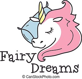 Vector cute logo. Cartoon sleeping unicorn logotype. Bed-clothes store sign.
