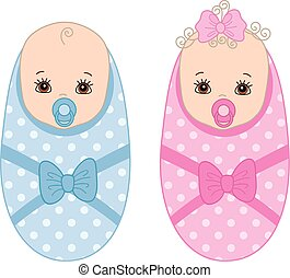 Vector Cute Newborn Twins. Vector Baby Boy. Vector Baby Girl