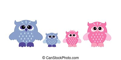 Vector cute owl set