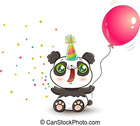 panda with pink balloon
