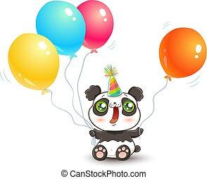 Cute panda with balloons.