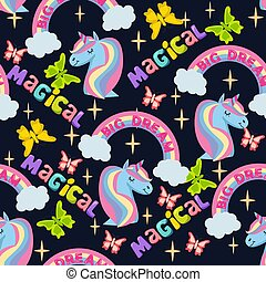 pattern with unicorn, rainbow and stars, inscription big Dream and magical.