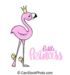 Vector cute Pink flamingos set with crown and flowers.