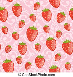 Vector cute pink seamless Valentine's Day pattern with red straw