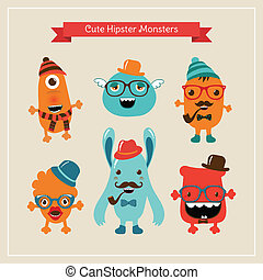 Vector Cute Retro Hipster Monsters Set - Vector Freaky Cute...