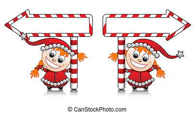 Vector cute Santa helper girls with - Vector cute Santa...