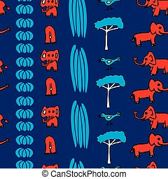 Vector cute seamless pattern, red elehants, blue trees and birds in columns on dark blue background. Hand drawn.