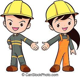 vector cute smart worker boy and girl