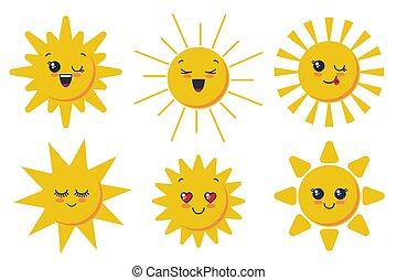 Vector cute smiling sun faces for child design