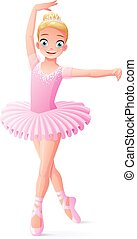 Vector cute smiling young dancing ballerina girl in pink tutu.