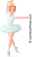 Vector cute smiling young dancing ballerina girl in white tutu.