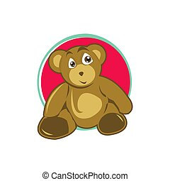 Vector cute teddy bear. Nice funny brown animal toy for kindergarten infant children