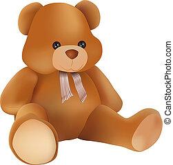 teddy bear - vector cute teddy bear on white background
