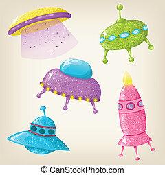 Vector cute UFOs