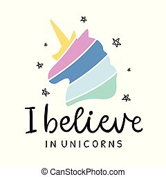 Vector cute unicorn hand lettering poster