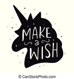 Vector cute unicorn silhouette lettering poster