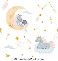 Vector cute unicorn sleeping at cloud in hat