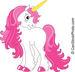 Vector Cute Unicorn with Pink Mane. Unicorn Vector Illustration.