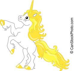 Vector Cute Unicorn with Yellow Mane. Unicorn Vector Illustration.