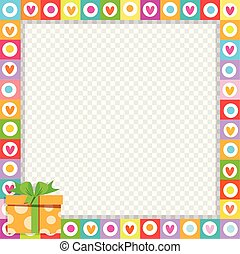 Vector cute vibrant hearts border with bright orange gift box in corner.