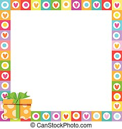 Vector cute vibrant hearts phot frame with colorful orange present in corner.