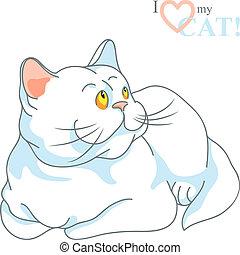 vector cute white cat lying