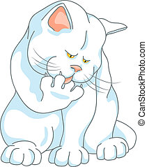 vector cute white cat washes, licking his paw