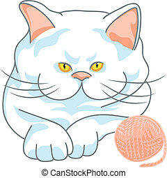 vector cute white cat with ball of yarn