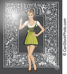 Vector Cute Woman In Drindl Against Love Background