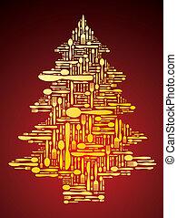 Vector cutlery as Christmas tree