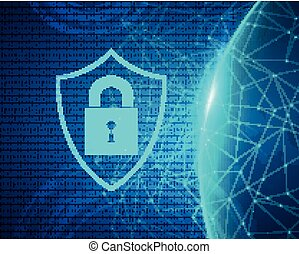 Vector Cyber Security Concept - Vector Illustration of a...