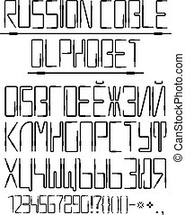 Vector Cyrillic alphabet from the audio cables