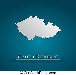 vector Czech Republic Map card paper on blue background,...