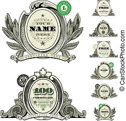 vector, dólar, conjunto, logotipo, marco, dinero