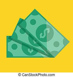 vector, dólar factura, icono