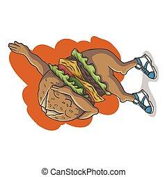 vector, dabbing, ilustración, baile, hamburguesa
