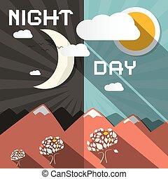 vector, dag, illustratie, nacht