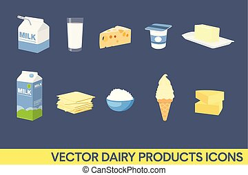 Vector Dairy Products Icon Set.