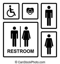 vector, dama, bebé, hombres, hombre, baño, pezón, vacío, iconos, mujeres