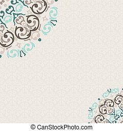 vector, damasco, ornamental, esquina, marco, con, un, lugar, para, su, texto