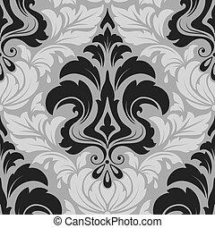 vector, damasco, seamless, patrón, element., elegante, lujo,...
