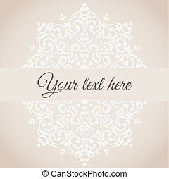 Vector damask circular ornamental frame with a place for your text